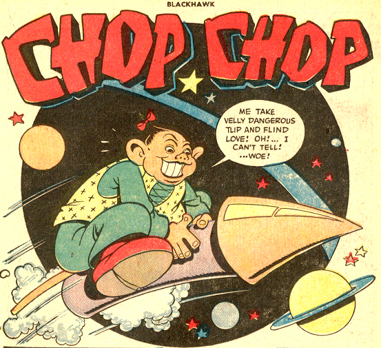 """The character of """"Chop-Chop"""", part of the Blackhawks team, as he appeared in the 1940's and 1950's."""