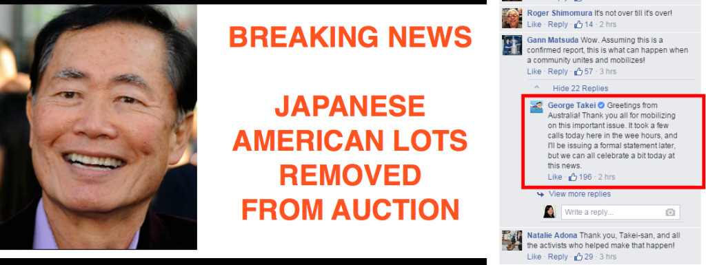 Screen-capture of George Takei's Facebook comment confirming his hand in stopping Rago auction house's planned sale.