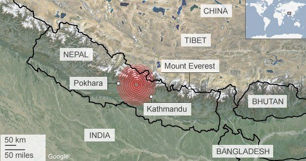 Infographic depicting the Nepal earthquake's epicentre, 50 miles northwest of Kathmandu. Infographic credit: BBC.