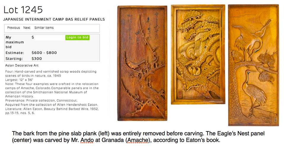 A collection of wood carvings are being sold. These carvings were described in Eaton's book on Japanese American incarceration, where Eaton said they were carved using makeshift tools and waste metals, since carving tools were prohibited in the camps.