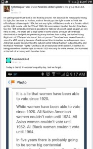 Facebook user Kelly Reagan Tudor clarifies the history of Native American voting rights in another well-shared Facebook meme.