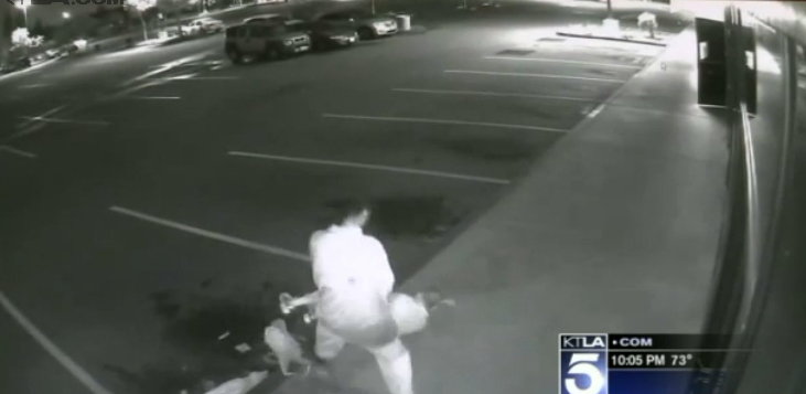 Screen capture from the surveillance footage of the Friday morning assault released to the public by Santa Ana police. (Photo credit: KTLA)
