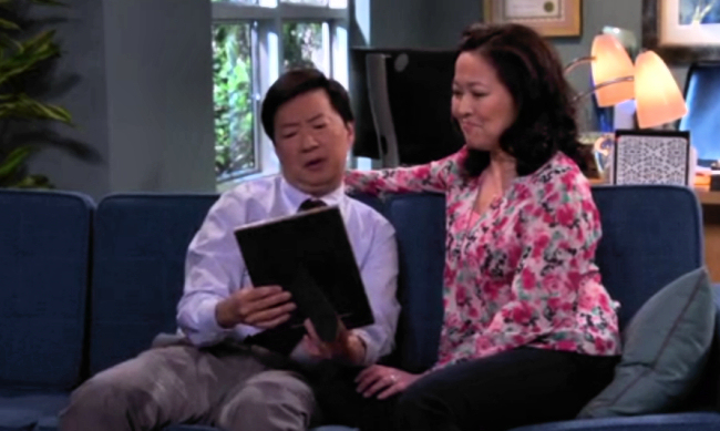 "Ken Jeong and Suzy Nakamura in a scene from the pilot episode of ABC's ""Dr. Ken"". (Screen Capture via ABC/Disney Press)"
