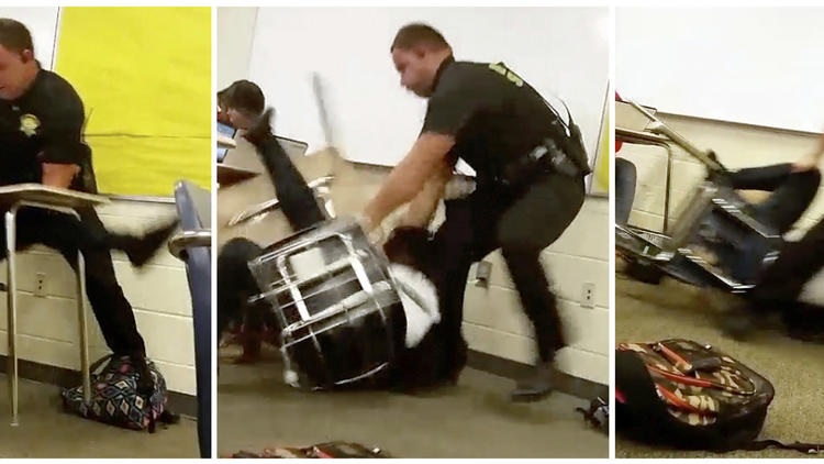 Stills from the assault on Spring Valley High School student last week by South Carolina Sheriff's Deputy Ben Fields (photo credit: AP).