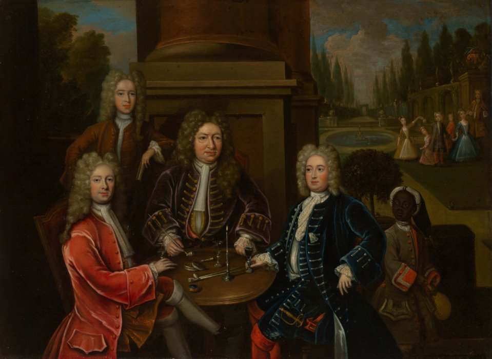 Portrait of Elihu Yale and others, which depicts the group of White men being served by a collared Black boy.