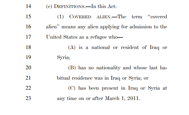 An excerpt from HR.4038, showing how the bill is intended to specifically target Syrian and Iraqi refugees.