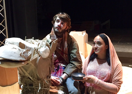 "Clarion University student actors Sam Atwell and Kiah Harrington-Wymer in a rehearsal photo from the school's planned production of ""Jesus in India"" published to social media. (Photo Credit: Clarion University)"