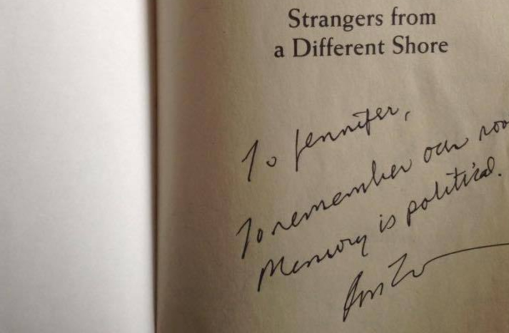 "Later, I was blessed to be able to have Prof. Ron Takaki sign my copy of ""Strangers"", a few years before his passing."
