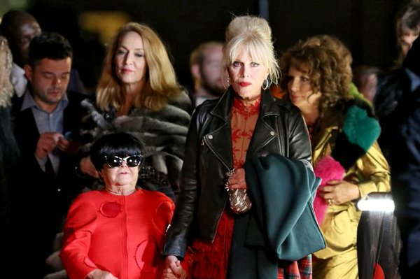 "Janette Tough (front left) appears in costume as character Huki Muki, a male Japanese fashion designer, in the upcoming ""Absolutely Fabulous"" film."