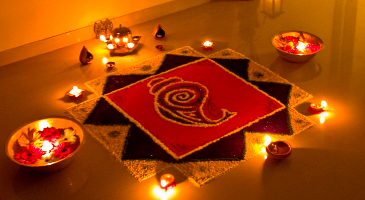 A Rangoli display for Diwali. (Photo credit: WikiCommons)