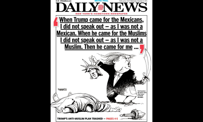 The December 9th cover of the New York Daily News, depicting Donald Trump beheading the Statue of Liberty. (Photo credit: NY Daily News)