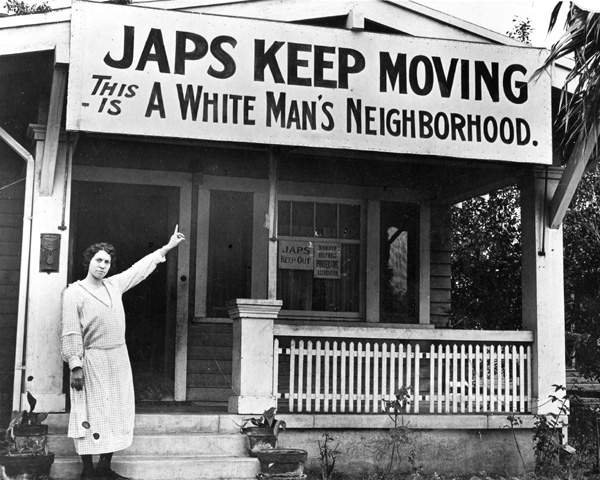 An anti-Japanese sign placed above a house before World War II.