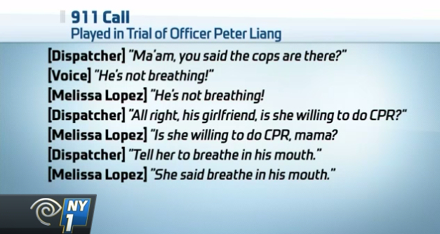 A transcript of the 911 call during the shooting of Akai Gurley. (Photo credit: NY1)