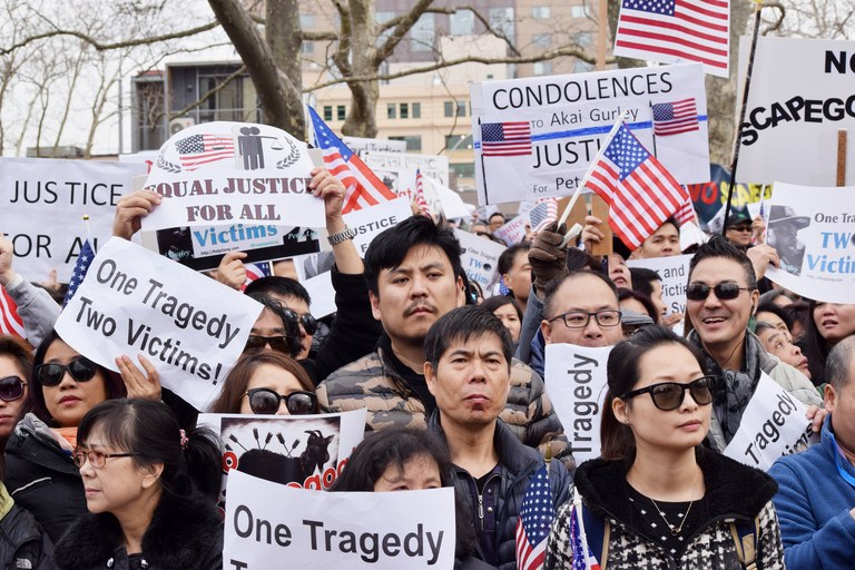 Protesters congregate in protest of the manslaughter conviction of former NYPD police officer Peter Liang in the shooting death of Akai Gurley. (Photo Credit: Twitter / Phoenix Tso).