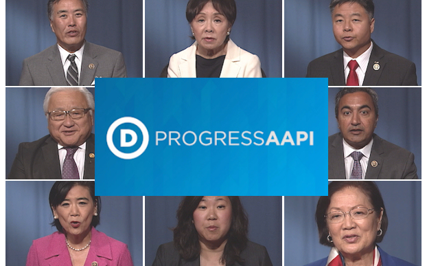 From top left (clockwise): Rep. Mark Takano (CA), Rep. Doris Matsui (CA), Rep. Ted Lieu (CA), Rep. Ami Bera (CA), Sen. Mazie Hirono (HI), Rep. Grace Meng (NY), Rep. Judy Chu (CA), Rep. Mike Honda (CA). (Photo Credit: DNC)