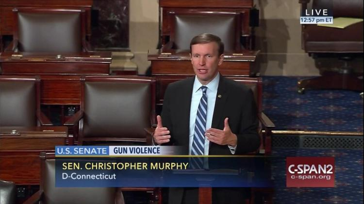 Senator Chris Murphy on the floor of the Senate during his marathon 15-hour filibuster last week demanding that Congress pass a gun control bill in the wake of the Orlando shooting. (Photo Credit: C-SPAN)