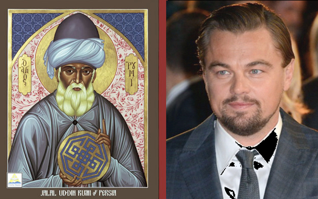 A painting of Rumi (left) and Leonardo DiCaprio (right).