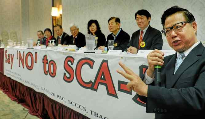 San Gabriel Councilman Chin Ho Liao speaks against SCA?5 at a protest. (Photo credit: Pasadena Star-News)