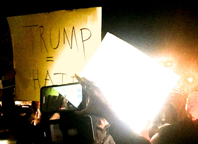 An image of protesters outside a Trump rally held over the weekend in New Jersey. (Photo credit: Sudip Battacharya)