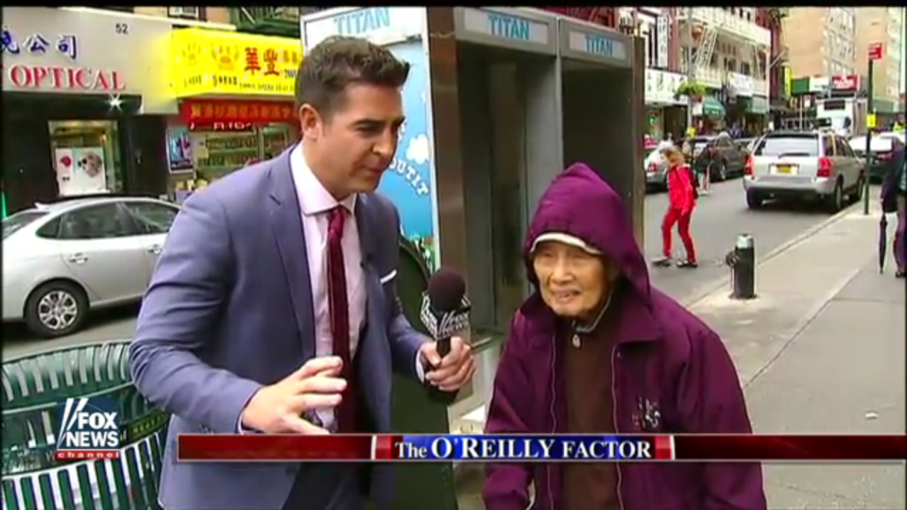 Jesse Watters interviews people in NYC's Chinatown during a segment that aired on October 3, 2016. (Photo credit: Fox News)