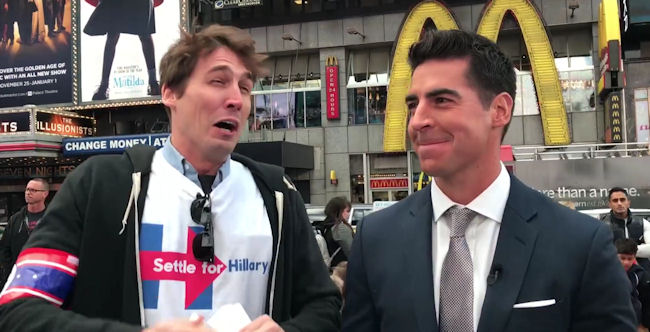 The exact moment when Jesse Watters realized what it feels like to be duped into looking like a jackass by an ambush prankster with a video camera. (Photo credit: Selvig / Stiefler / YouTube)