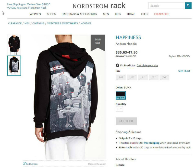 A screen-capture of the hoodie as it was being sold by Nordstrom Rack. (Photo credit: AsAmNews / Nordstrom Rack)