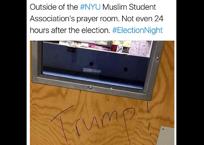 Graffiti defacing the Muslim prayer room at NYU, found on November 9th. (Photo credit: Twitter / via Instagram and Thank You Donald)