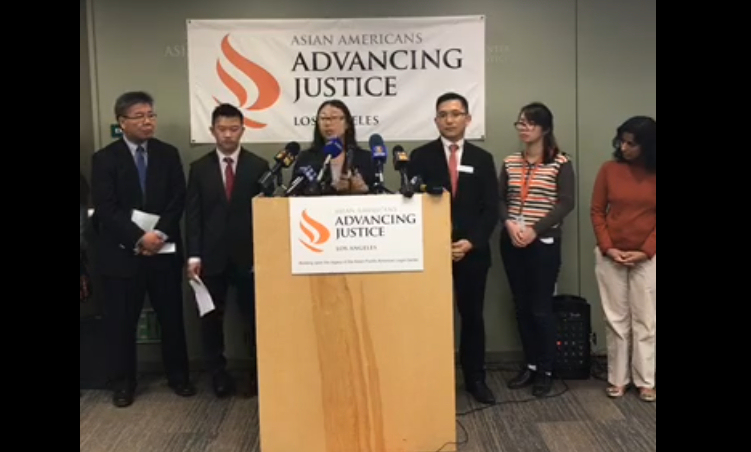 Nicole Gon Ochi, Supervising Attorney of Advancing Justice - LA, speaks at a press conference on December 13, 2016. (Photo credit: Facebook / AAAJ-LA)