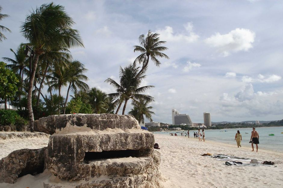 The remnants of a World War II bunker on a beach in Guam. (Photo credit: ABC / Ben Bohane)