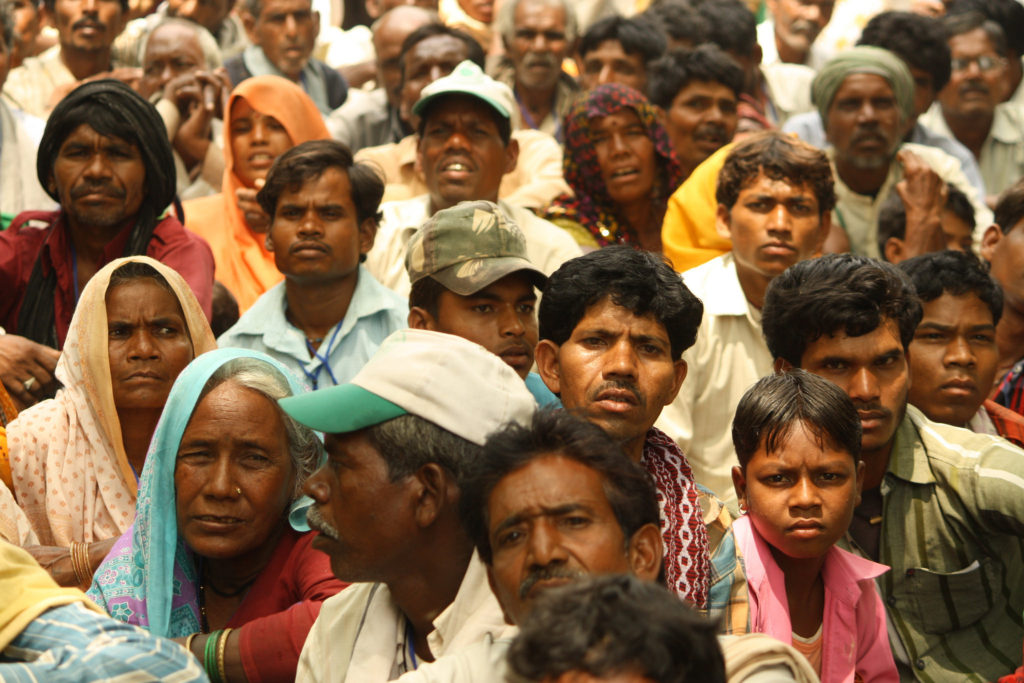 Dalit gather together in India to discuss land rights. (Photo credit: Flickr / Action Aid India)