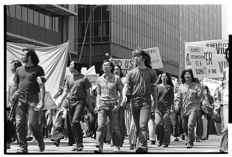 Asian American protesters at an anti-war march in 1972. (Photo credit: Asian Pacific American Photographic Collection, Visual Communications Archive via LA Times)
