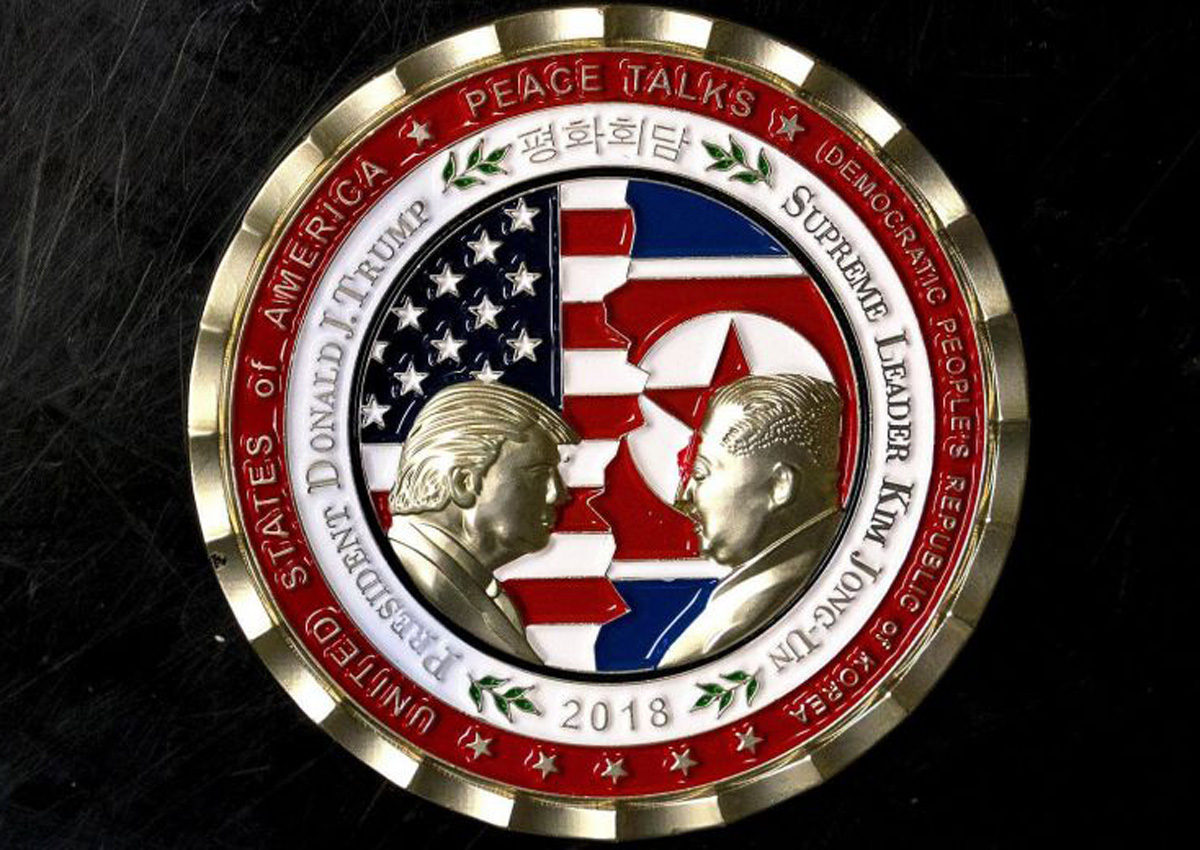 A commemorative coin issued to mark today's summit between US president Donald Trump and North Korean leader Kim Jong-Un.